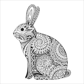 Mão desenhada coelho ornamentado com doodle floral étnica
