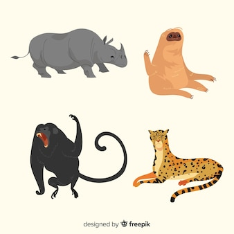 Mão desenhada coleção animal tropical