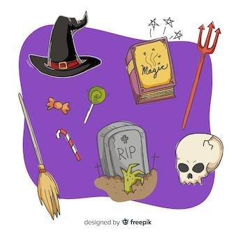 Mão desenhada coleção assustador de halloween