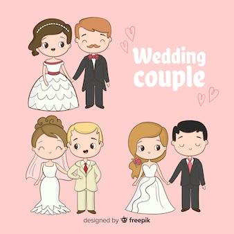 Mão desenhada coleção casal de noivos