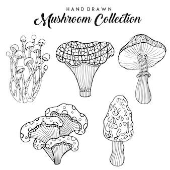 Mão desenhada coleção cogumelo preto e branco