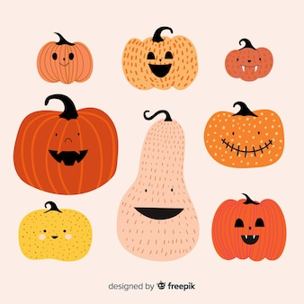 Mão desenhada coleção de abóbora de halloween