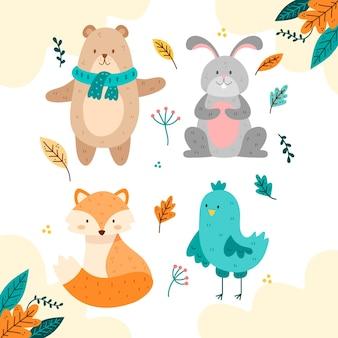 Mão desenhada coleção de animais outono fost