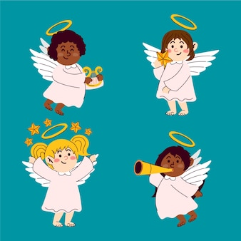 Mão desenhada coleção de anjo de natal