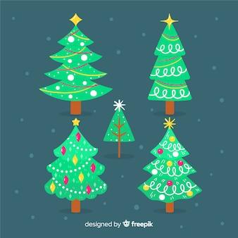 Mão desenhada coleção de árvore de natal