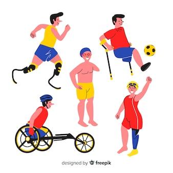 Mão desenhada coleção de atleta com deficiência
