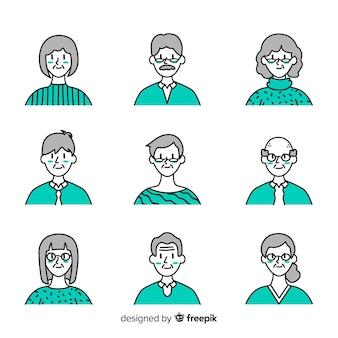 Mão desenhada coleção de avatar de pessoas velhas