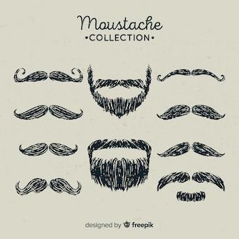 Mão desenhada coleção de bigode movember em diferentes formas