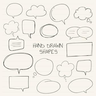 Mão desenhada coleção de bolha do discurso