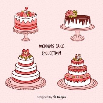 Mão desenhada coleção de bolo de casamento