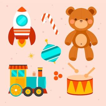 Mão desenhada coleção de brinquedos de natal