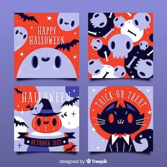 Mão desenhada coleção de cartão de dia das bruxas com rostos