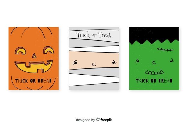 Mão desenhada coleção de cartão de dia das bruxas
