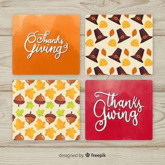 Mão desenhada coleção de cartão de dia de ação de graças
