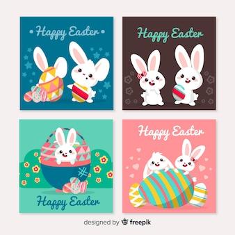 Mão desenhada coleção de cartão de dia de páscoa