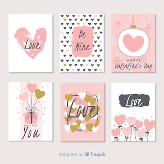 Mão desenhada coleção de cartão de dia dos namorados