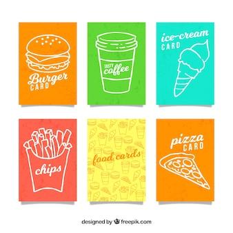Mão desenhada coleção de cartão de fast food