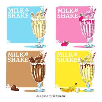 Mão desenhada coleção de cartão de milkshake