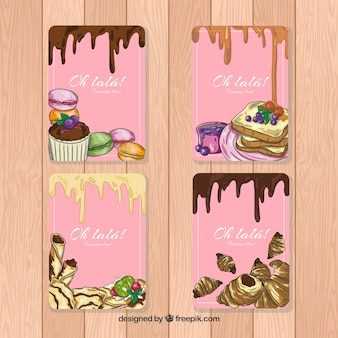 Mão desenhada coleção de cartão de sobremesa