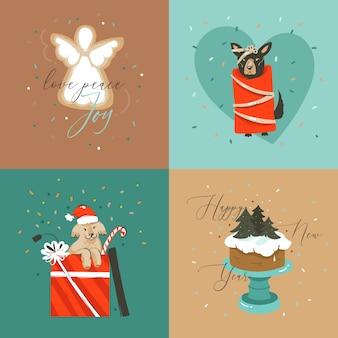 Mão desenhada coleção de cartões abstratos de feliz natal e feliz ano novo com ilustração de desenhos animados com cachorros, bolo de natal e texto de feliz natal isolado em um fundo colorido
