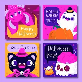 Mão desenhada coleção de cartões de halloween