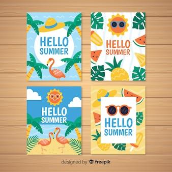 Mão desenhada coleção de cartões de verão