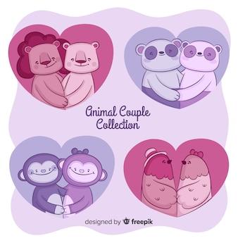 Mão desenhada coleção de casal animal dos namorados