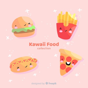 Mão desenhada coleção de comida kawaii