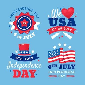Mão desenhada coleção de crachás do dia da independência de 4 de julho