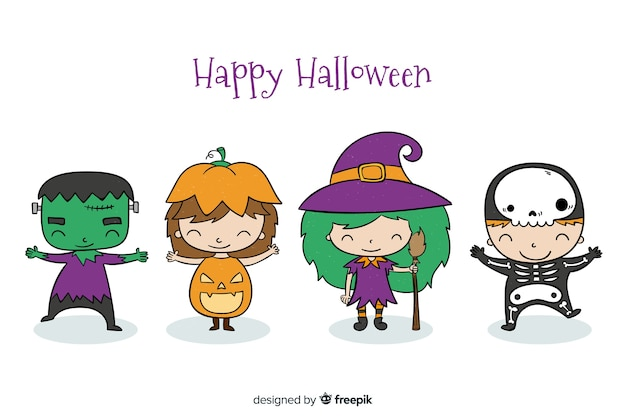 Mão desenhada coleção de criança de halloween