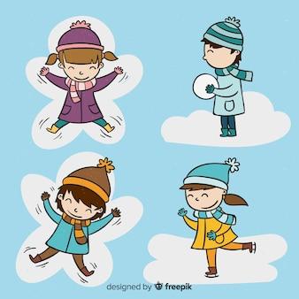 Mão desenhada coleção de crianças de inverno