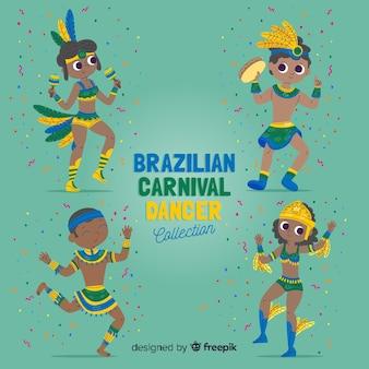 Mão desenhada coleção de dançarina de carnaval brasileira Vetor grátis