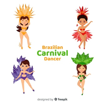 Mão desenhada coleção de dançarina de carnaval brasileira