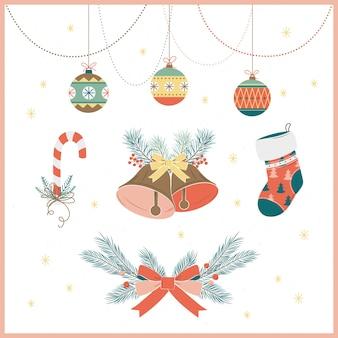 Mão desenhada coleção de decoração de natal