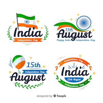Mão desenhada coleção de distintivo de dia da independência de india