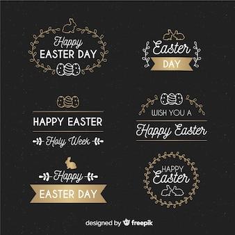 Mão desenhada coleção de distintivo de dia de páscoa