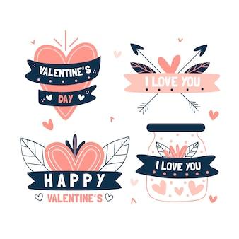 Mão desenhada coleção de distintivo de dia dos namorados