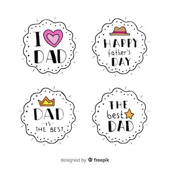 Mão desenhada coleção de distintivo de dia dos pais