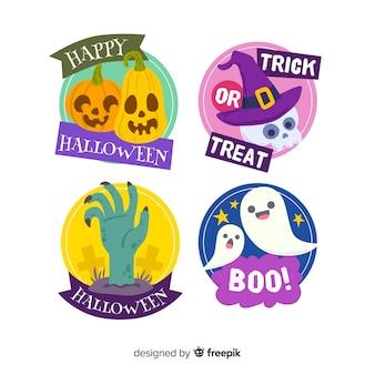 Mão desenhada coleção de distintivo de halloween
