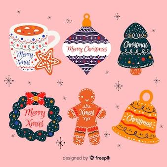 Mão desenhada coleção de distintivo de natal