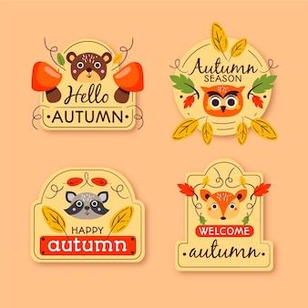 Mão desenhada coleção de distintivo de outono