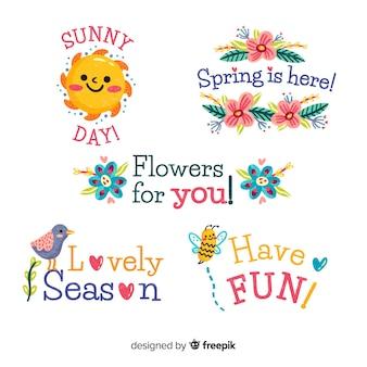 Mão desenhada coleção de distintivo de primavera