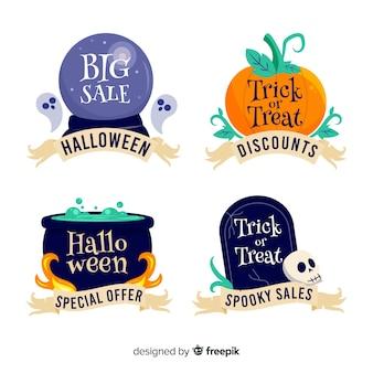 Mão desenhada coleção de distintivo de venda de halloween