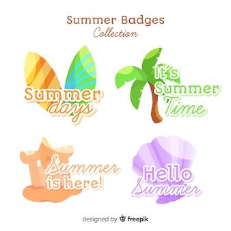 Mão desenhada coleção de distintivo de verão Vetor grátis