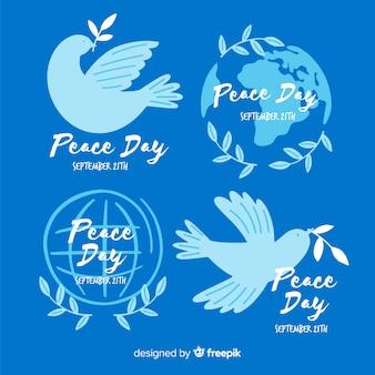 Mão desenhada coleção de distintivo do dia da paz