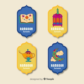 Mão desenhada coleção de distintivo do ramadã