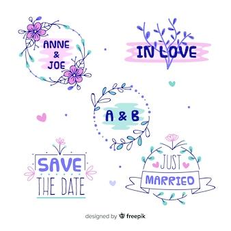 Mão desenhada coleção de distintivos de casamento floral