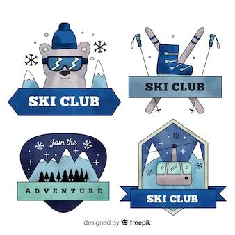 Mão desenhada coleção de distintivos de clube de esqui