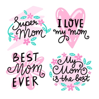 Mão desenhada coleção de distintivos de dia das mães