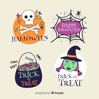Mão desenhada coleção de distintivos de halloween
